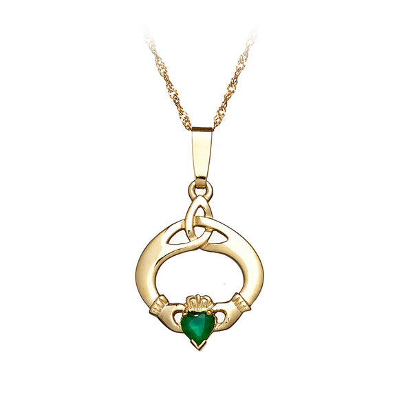 Green Agate Claddagh Triquetra Pendant - Celtic Dawn - Jewellery Arts Crafts & Gifts  - 1