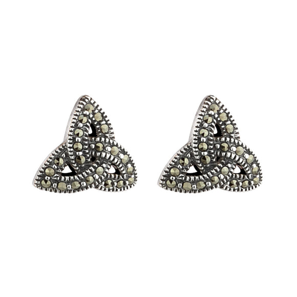 Marcasite Triquetra Stud Earrings - Celtic Dawn - Jewellery Arts Crafts & Gifts  - 1