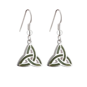 Connemara Marble Triquetra Drop Earrings - Celtic Dawn - Jewellery Arts Crafts & Gifts  - 1