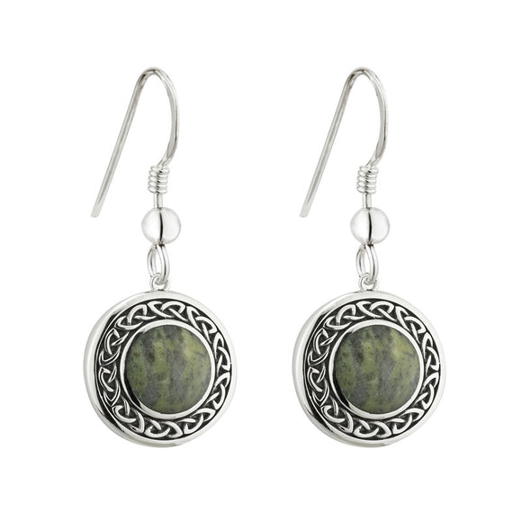 Connemara Marble Knotwork Disk Drop Earrings