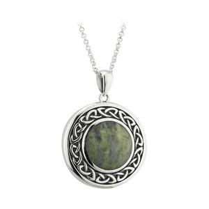 Connemara Marble Knotwork Disc Pendant