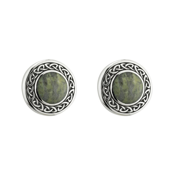 Connemara Marble Knotwork Disk Stud Earrings