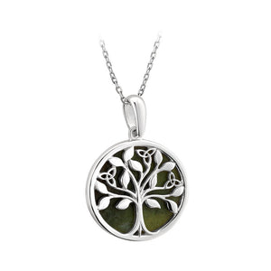 Connemara Marble Tree of Life Triquetra Disc Pendant