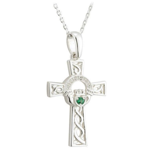 Cubic Zirconia Open Claddagh Cross Pendant