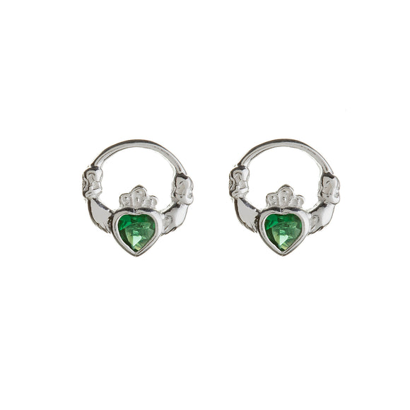 Green Cubic Zirconia Claddagh Stud Earrings