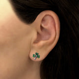Green Crystal Shamrock Stud Earrings