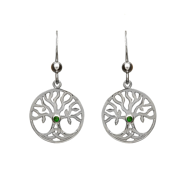 Green Cubic Zirconia Tree of Life Drop Earrings
