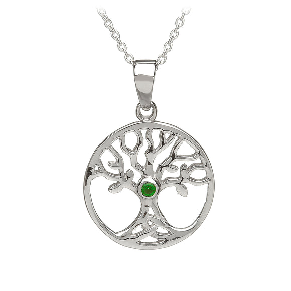 Green Cubic Zirconia Tree of Life Pendant