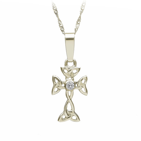 Diamond Open Triquetra Cross Pendant