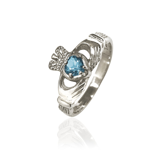 Traditional Gemstone Blue Topaz Claddagh Ring