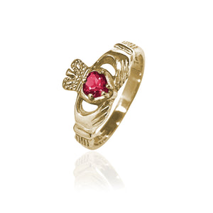 Traditional Gemstone Ruby Claddagh Ring