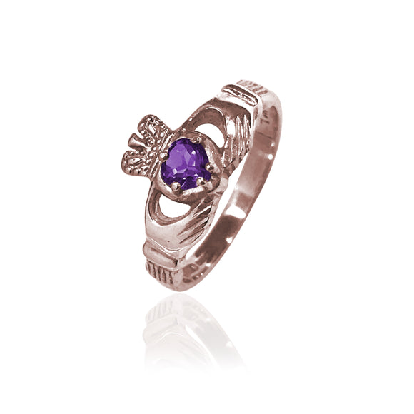 Traditional Gemstone Amethyst Claddagh Ring