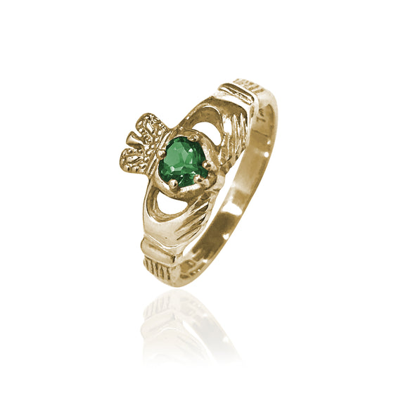 Traditional Gemstone Emerald Claddagh Ring