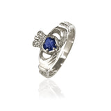 Traditional Gemstone Blue Sapphire Claddagh Ring