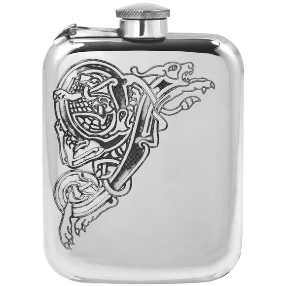 6oz Celtic Dragon Hip Flask (Captive Top)