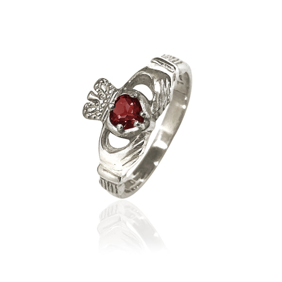 Traditional Gemstone Garnet Claddagh Ring