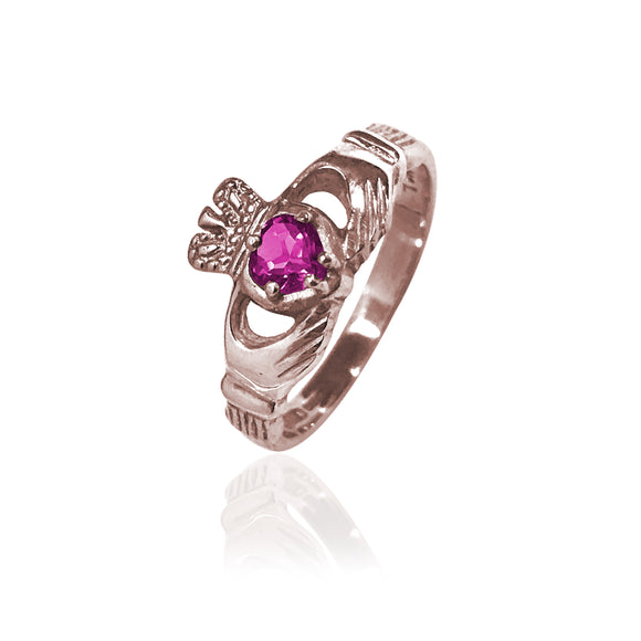 Traditional Gemstone Purple Tourmaline Claddagh Ring