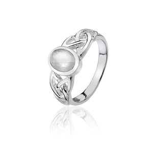 Moonstone Triquetra Knotwork Ring (Small)