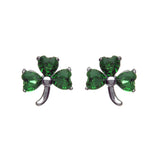 Green Crystal Shamrock Stud Earrings - Celtic Dawn - Jewellery Arts Crafts & Gifts  - 1