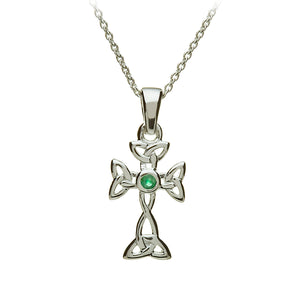 Emerald Open Triquetra Cross Pendant