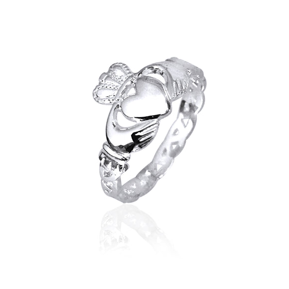 Open Knot Band Claddagh Ring