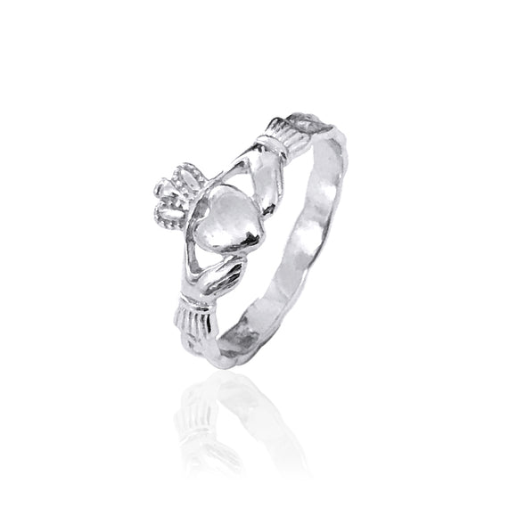 Maids Solid Knot Band Claddagh Ring