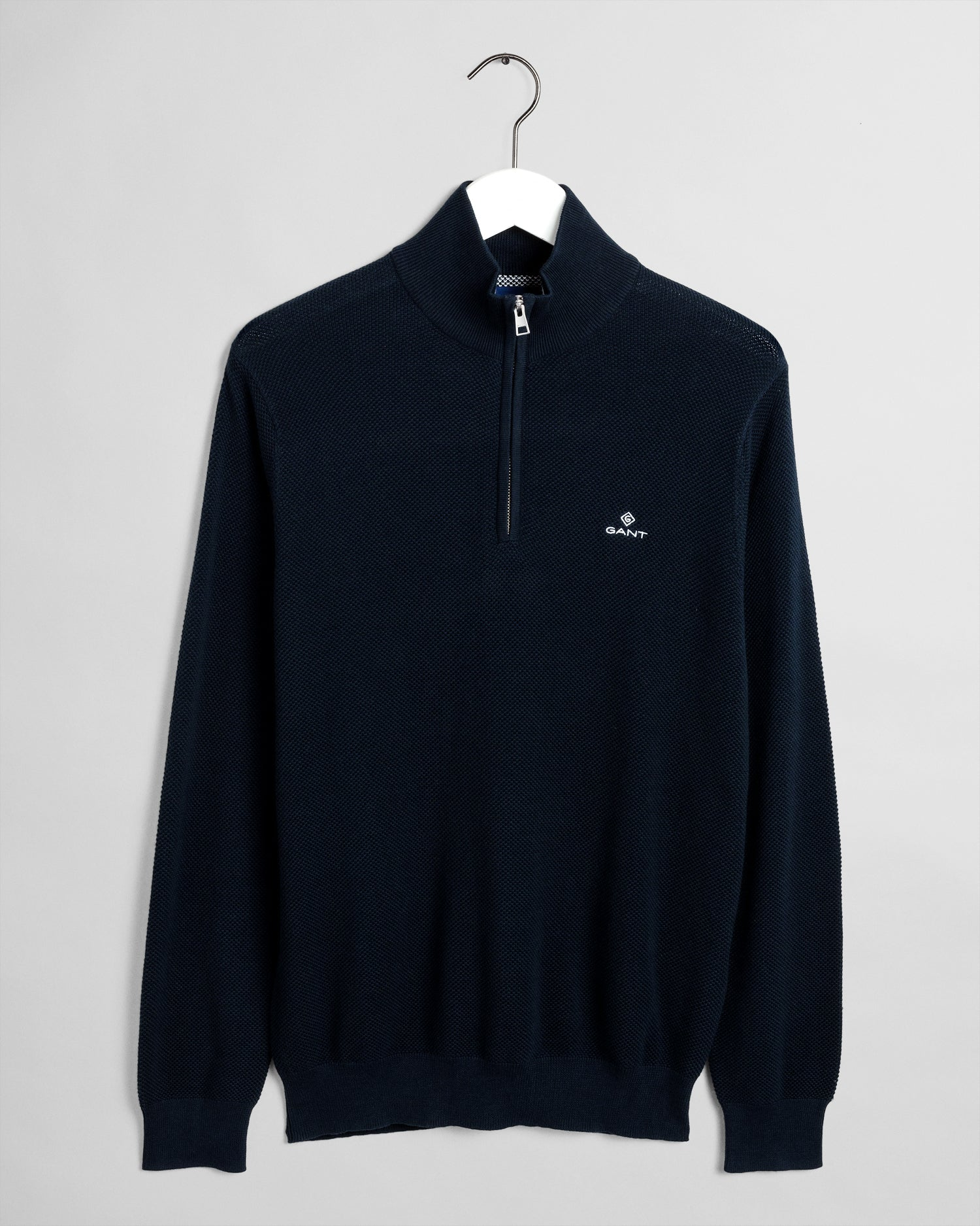 GANT Herr Halv Zip Cotton Pique Tröja Evening Blue