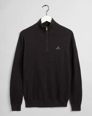GANT Herr Halv Zip Cotton Pique Tröja Antracite Melange