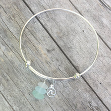 Load image into Gallery viewer, sea glass bracelet expandable charm