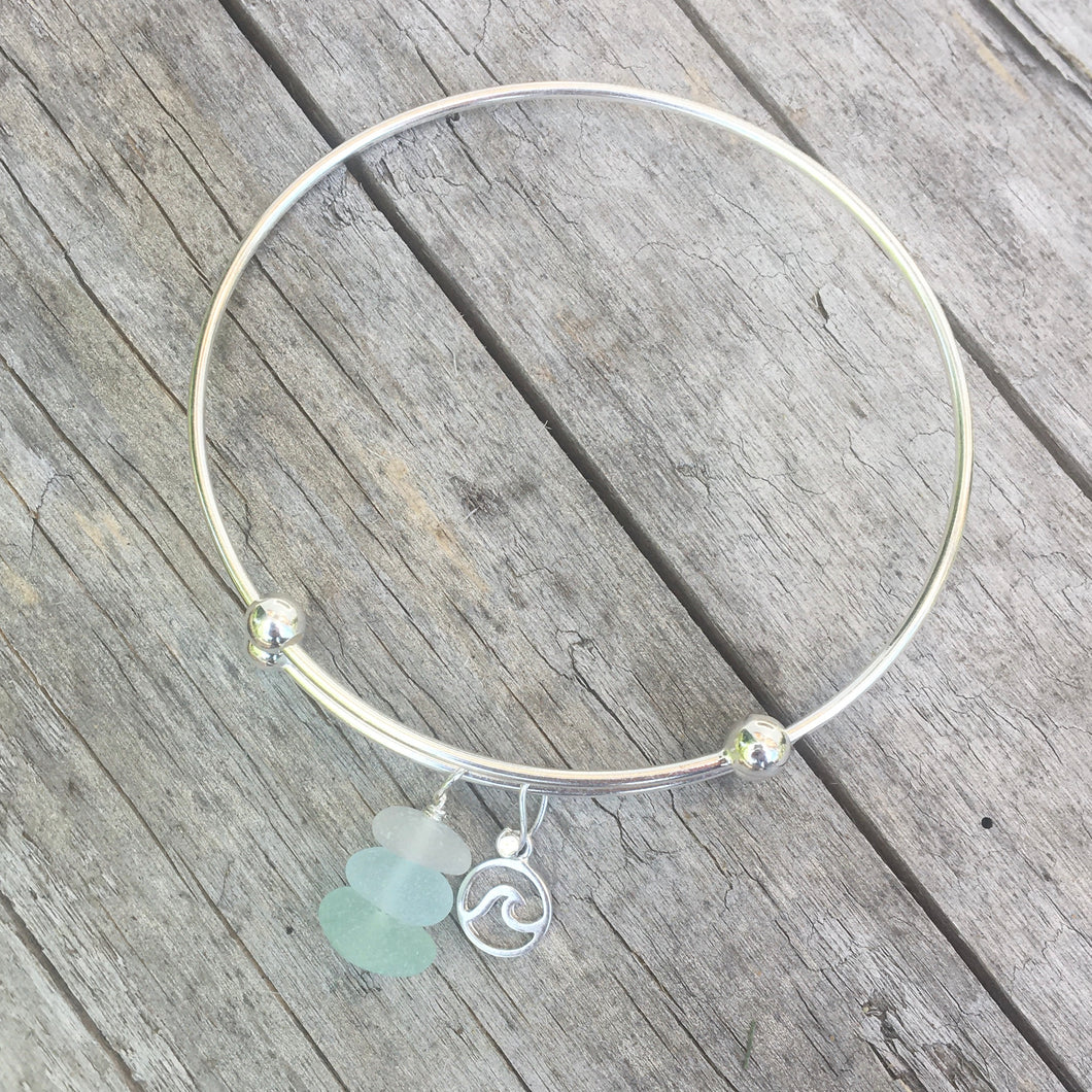 Expandable Charm Bracelet with Natural Sea Glass