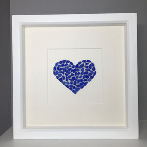 sea glass heart pebble art blue