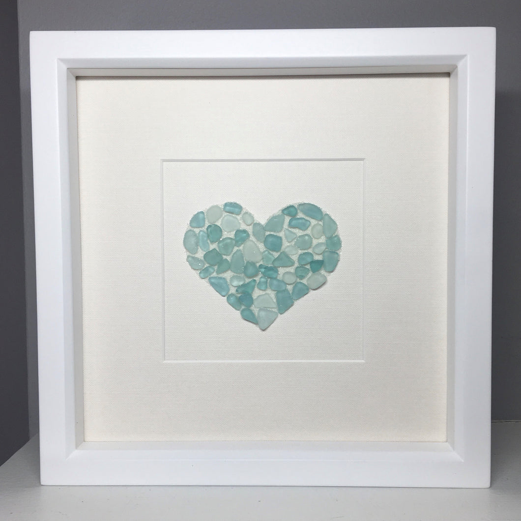 sea glass heart pebble art