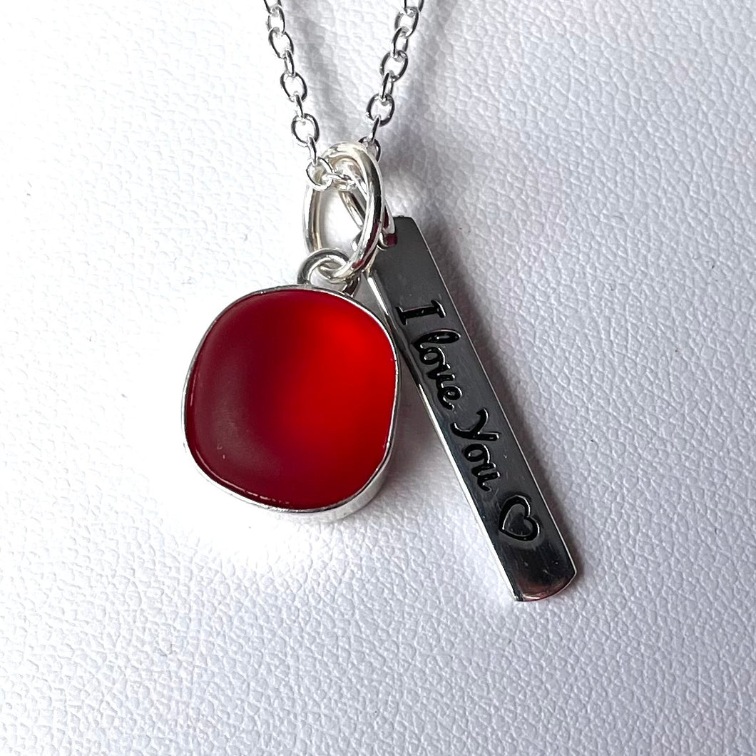 sea glass necklace bezel set red i love you charm