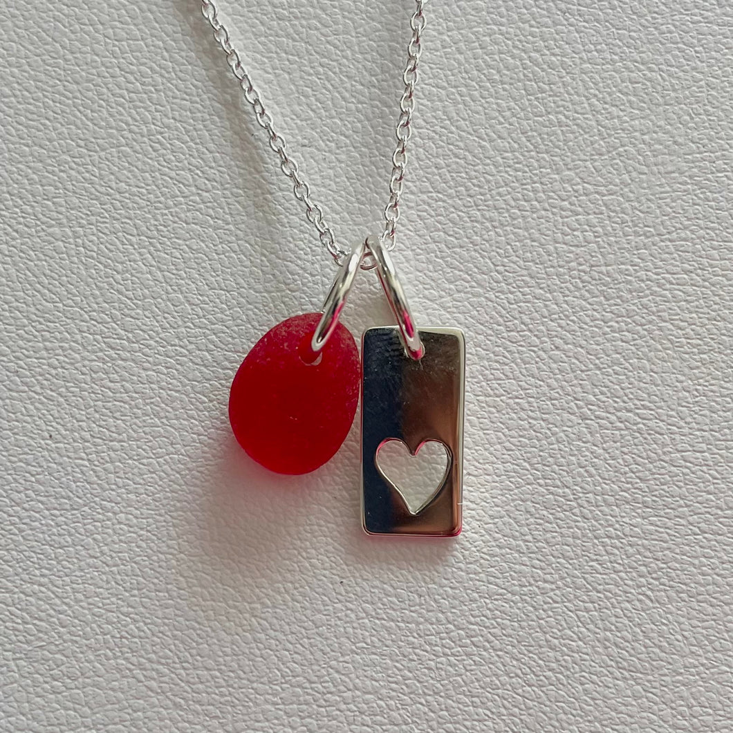 red sea glass necklace sterling heart charm