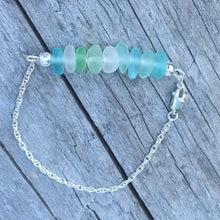 Load image into Gallery viewer, Sterling Silver Sea Glass Bracelet with Lobster Claw Clasp
