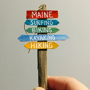 Wooden Maine Sign Ornament