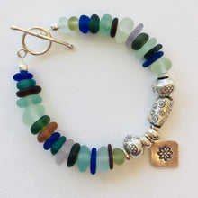 Load image into Gallery viewer, sea glass bracelet silver toggle