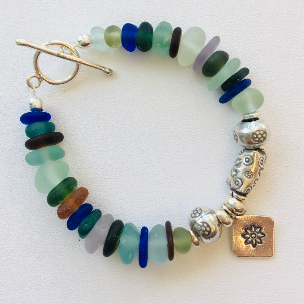 sea glass bracelet silver toggle