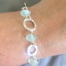 Load image into Gallery viewer, Fine Silver Seafoam Sea Glass Bracelet with Toggle Clasp