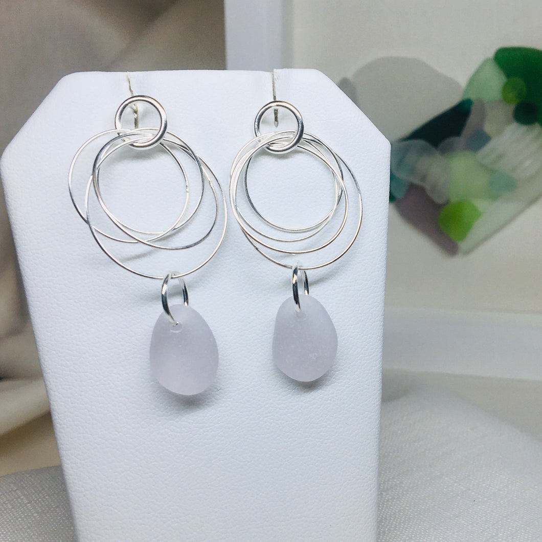 All Natural Sea Glass Circle Earrings