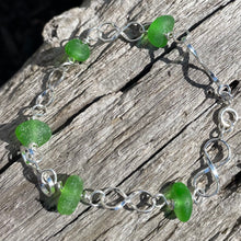 Load image into Gallery viewer, Sterling Silver and Sea Glass Infinity Link Bracelet