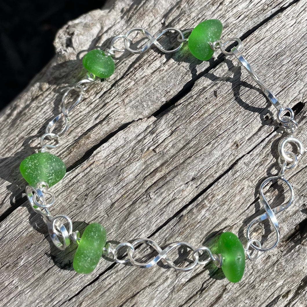 Sterling Silver and Sea Glass Infinity Link Bracelet