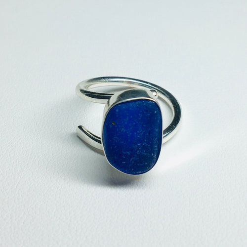 sea glass ring bezel set cobalt blue