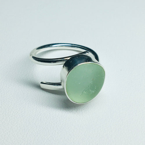 sea glass ring bezel set aqua
