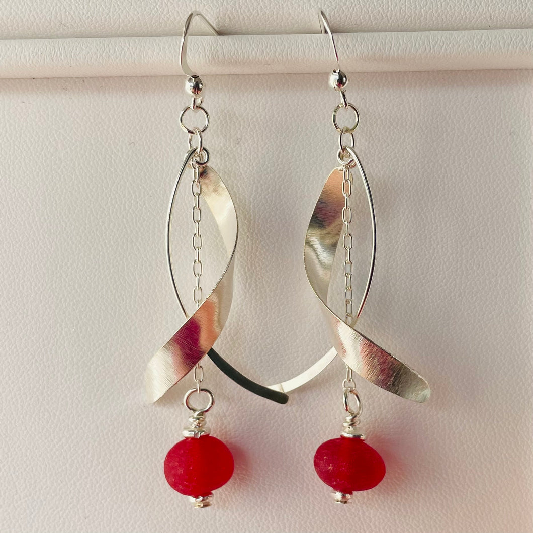 sea glass earrings sterling dangle red