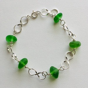 sea glass bracelet green linked sterling