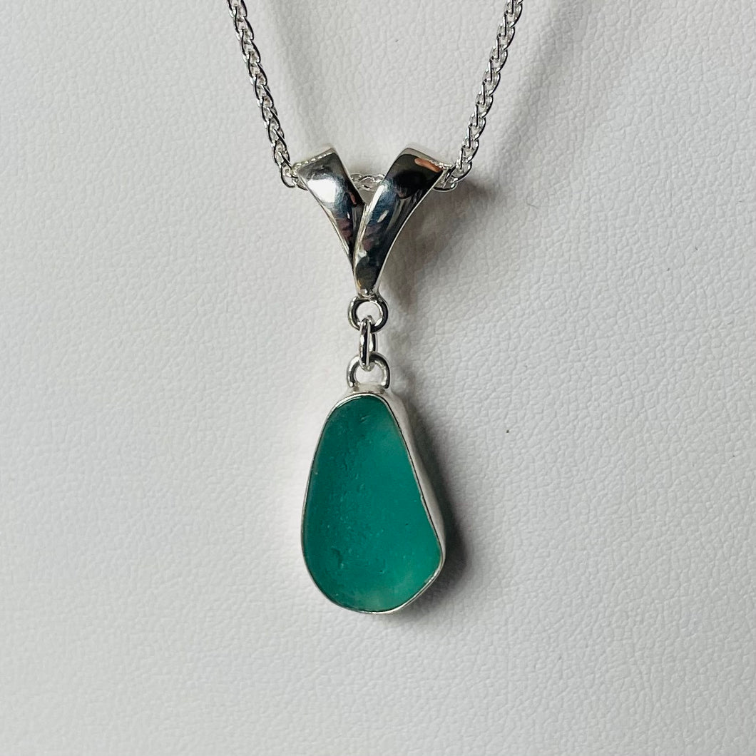 Bezel Set Sea Glass Pendant Necklace