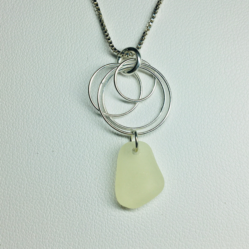 sea glass necklace sterling silver circles yellow