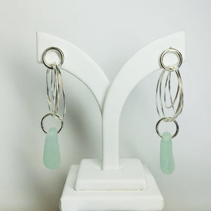 All Natural Sea Glass Circle Post Earrings