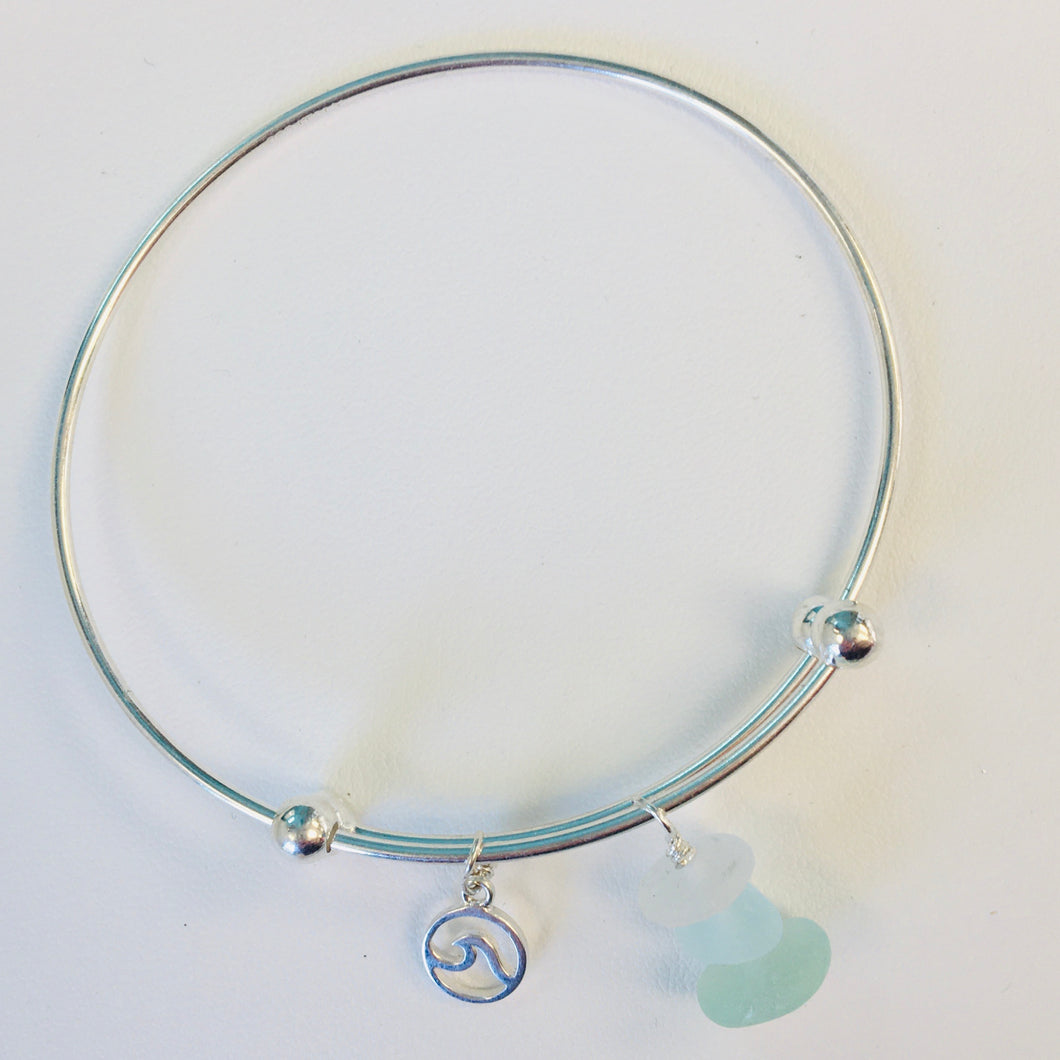 sea glass bracelet expandable charm